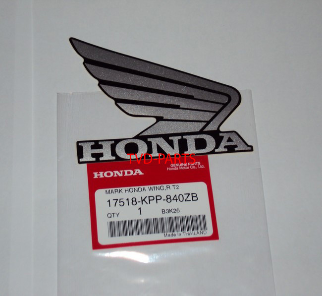 Stickerset Honda Wings wing zilver (set, links en rechts) (103x83 mm)