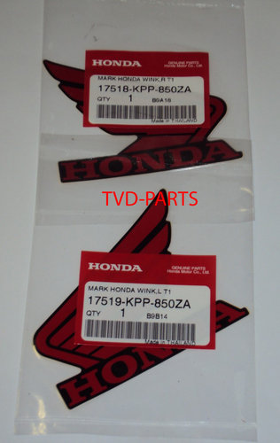 Stickerset Honda wings Rood zwart Honda MB MT MTX NSR MBX (103x83 mm)